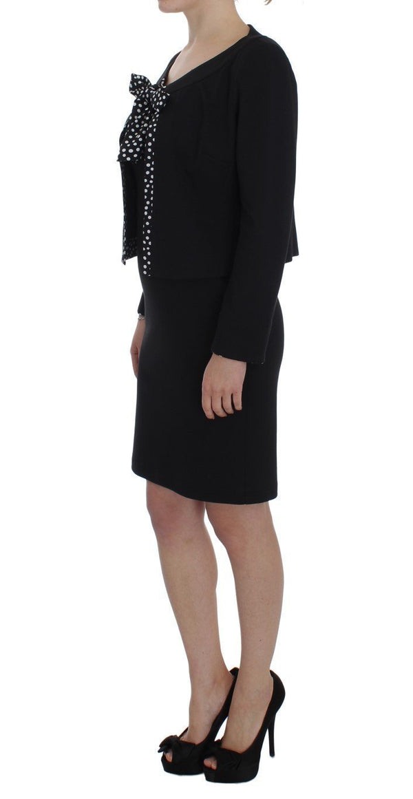 Black Stretch Sheath Dress & Sweater Set