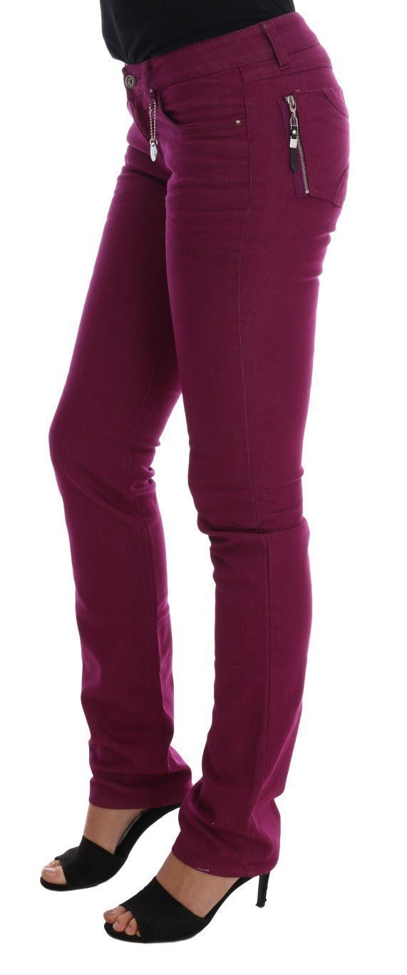 Purple Cotton Stretch Slim Denim Jeans