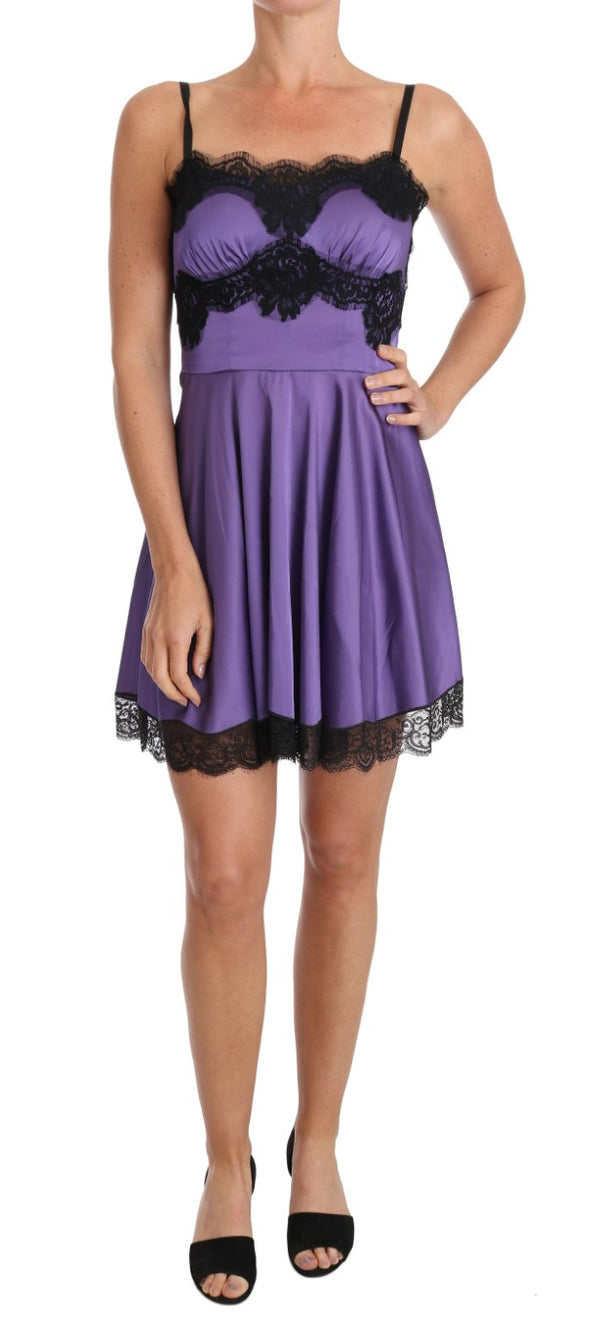 Purple Stretch Black Lace Dress