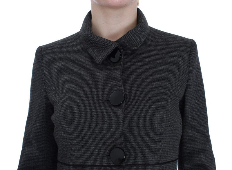 Gray Wool Button Collar Coat Jacket
