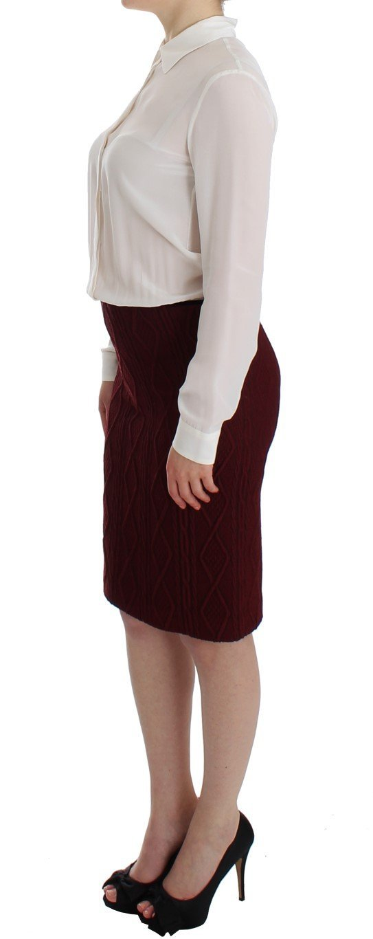 White Red Shirt Long Sleeve Wool Dress