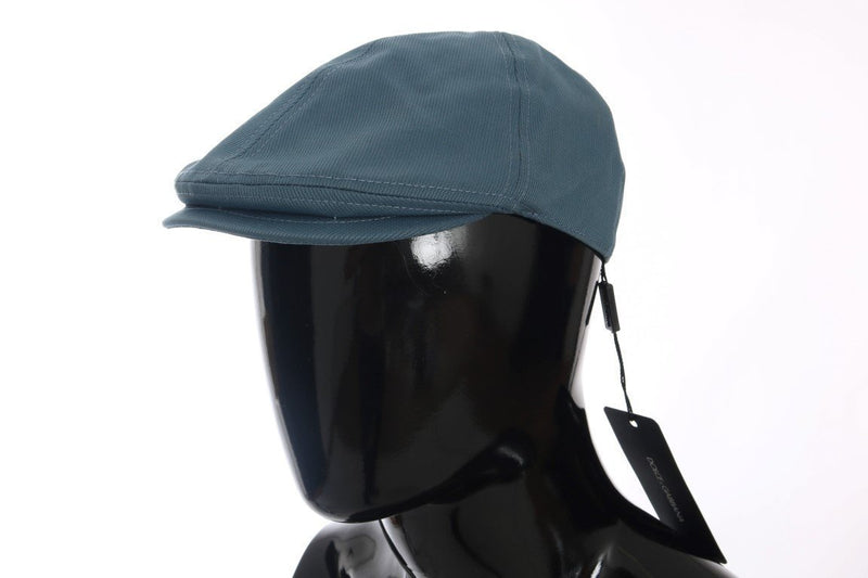 Blue Cotton Newsboy Cap