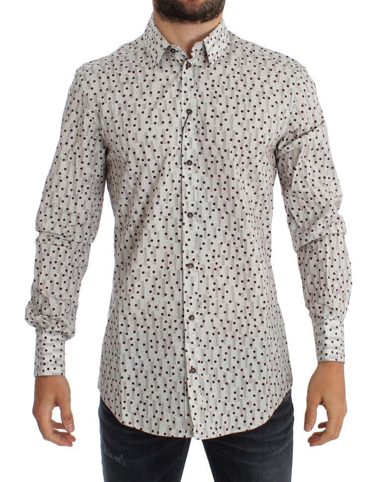 White Red Polka Dot Slim Fit GOLD Shirt