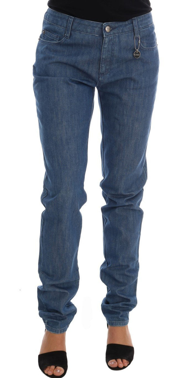 Blue Wash Cotton Boyfriend Fit Jeans