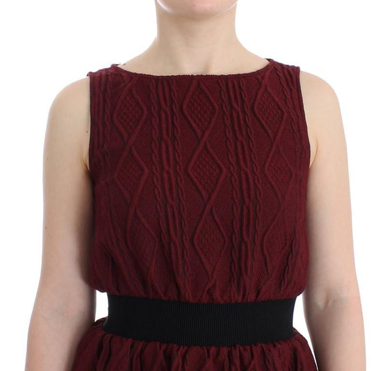 Red Wool Sleeveless Shift Sheath Dress