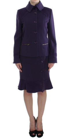 Purple Wool Blend Sheath Dress & Jacket Set