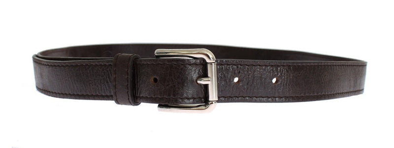 Black Leather Silver Buckle Logo Belt