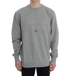 Gray Cotton Stretch Crewneck Pullover Sweater