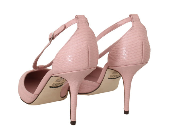Pink Leather Iguana Strap Pumps Heels