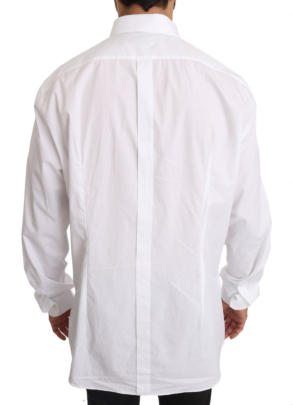 White Solid Cotton GOLD Dress Shirt