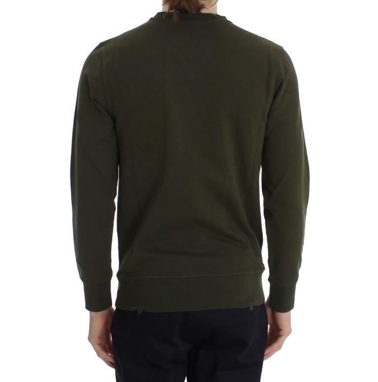Green Cotton Stretch Crewneck Pullover Sweater