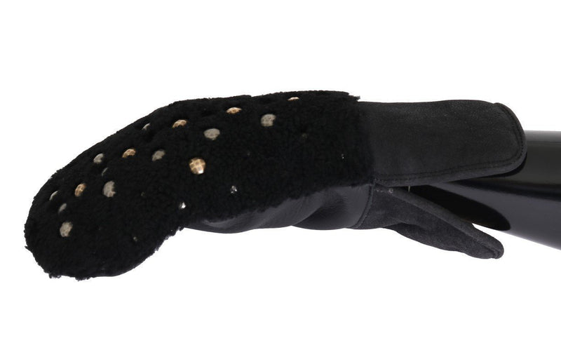 Black Leather Shearling Studded Gloves