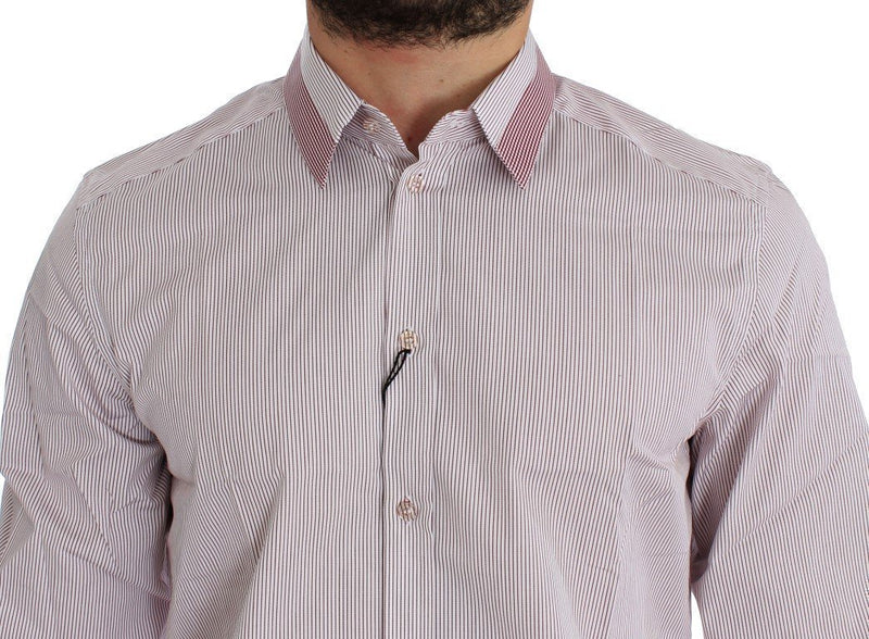 White Red Striped GOLD Slim Fit Dress Shirt