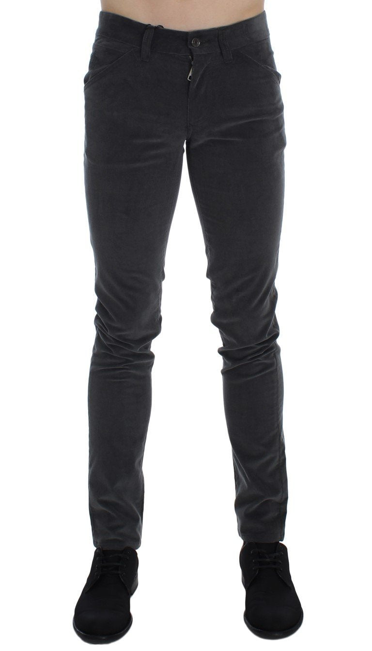 Gray Stretch Cotton Slim Fit Pants