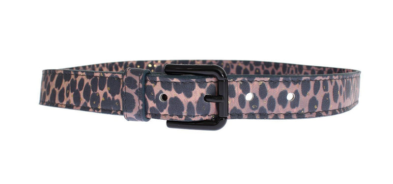 Leopard Leather Black Buckle Logo Belt