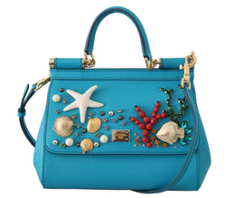 Blue Leather Shoulder MISS SICILY Crystal Seashell Purse