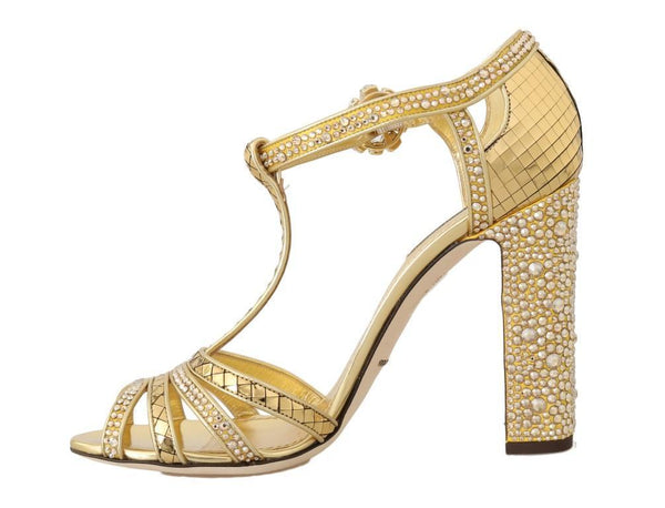 Gold Crystal T-strap Sandals