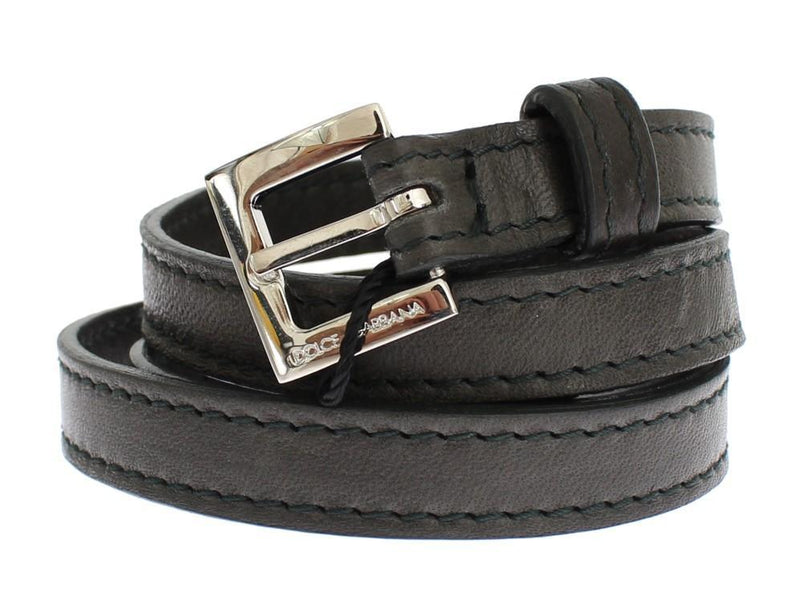 Gray leather belt
