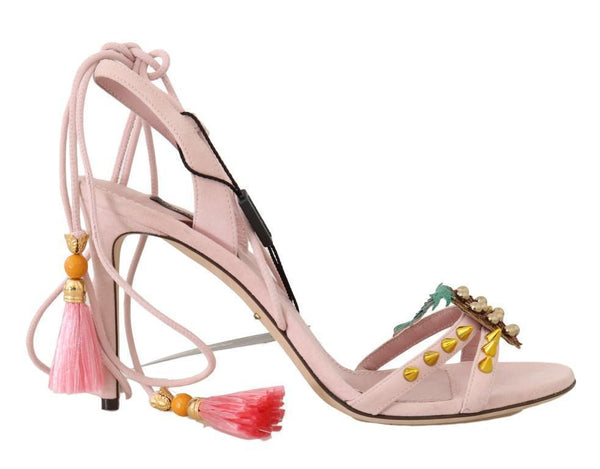 Pink Suede Pineapple Studded Tassel Shoes