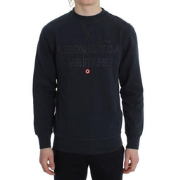 Blue Cotton Stretch Crewneck Pullover Sweater
