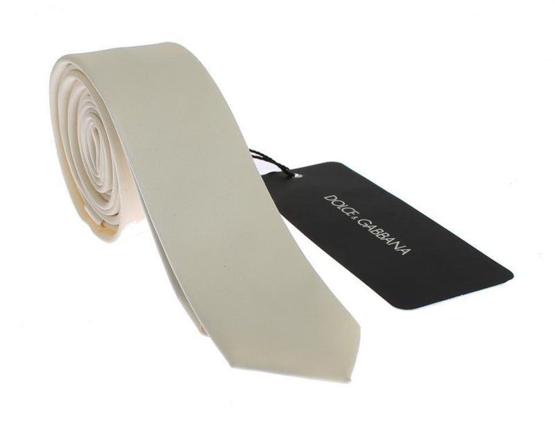 White Solid Silk Skinny Tie