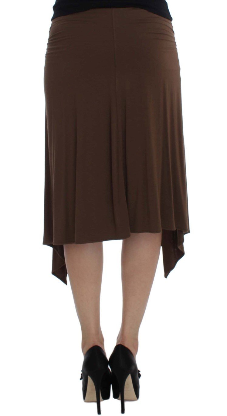 Brown Mini Pencil Stretch Skirt
