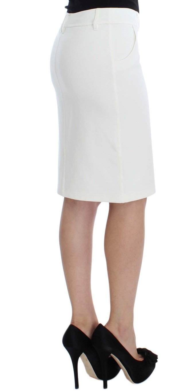 White Straight Pencil Skirt