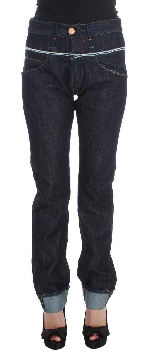Blue Cotton Straight Fit High Waist Jeans