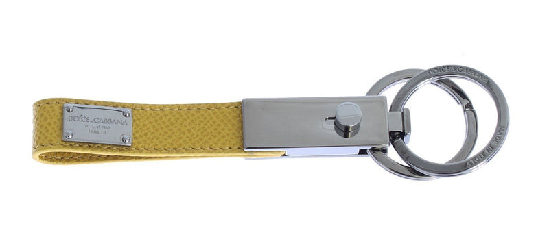 Silver Brass Yellow Leather Keychain