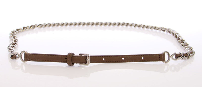 Gray Leather Silver Metal Logo Belt