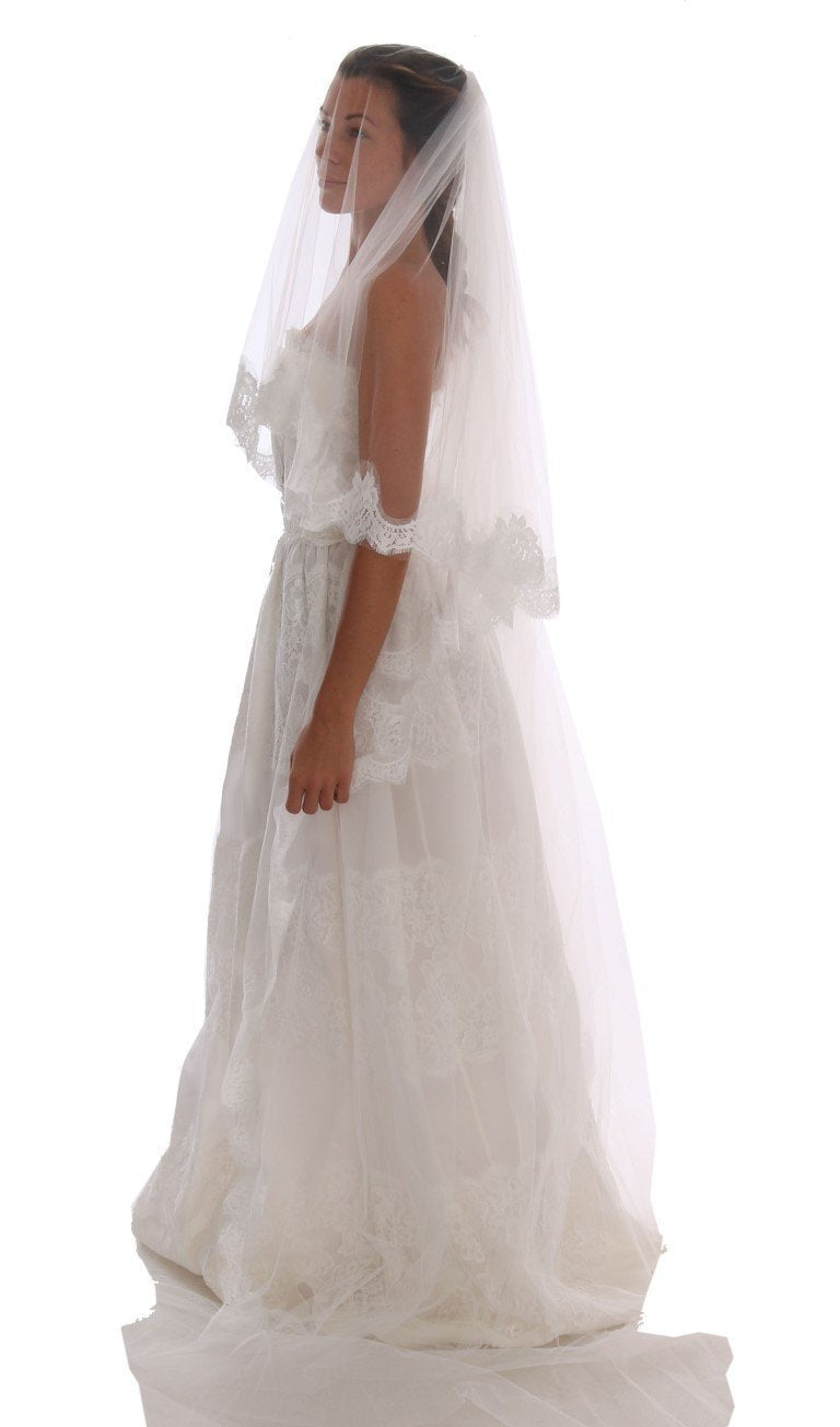 White Floral Lace Bridal Wedding Veil