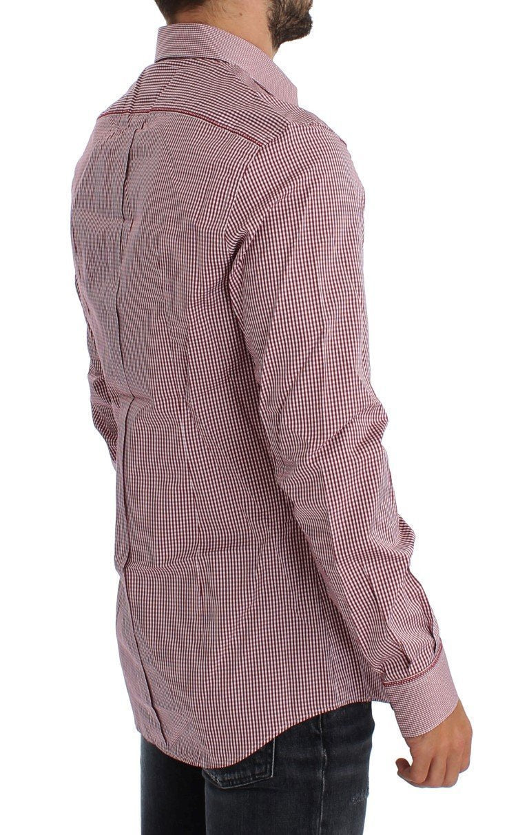 Red Checkered GOLD Slim Fit Dress Shirt