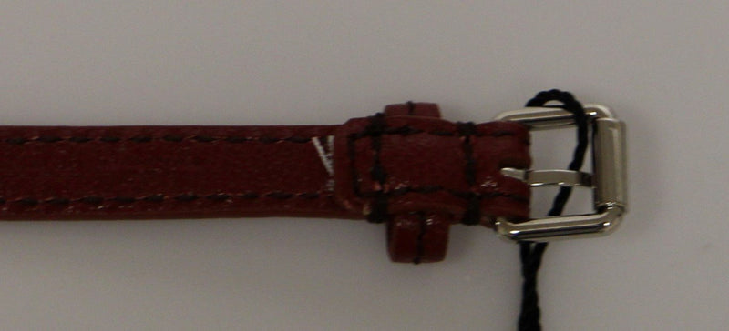 Brown Leather Silver Metal Logo Belt