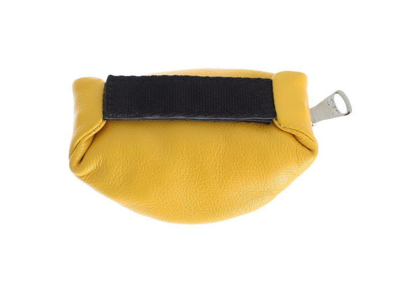 Yellow Leather Zipper Pouch Keychain