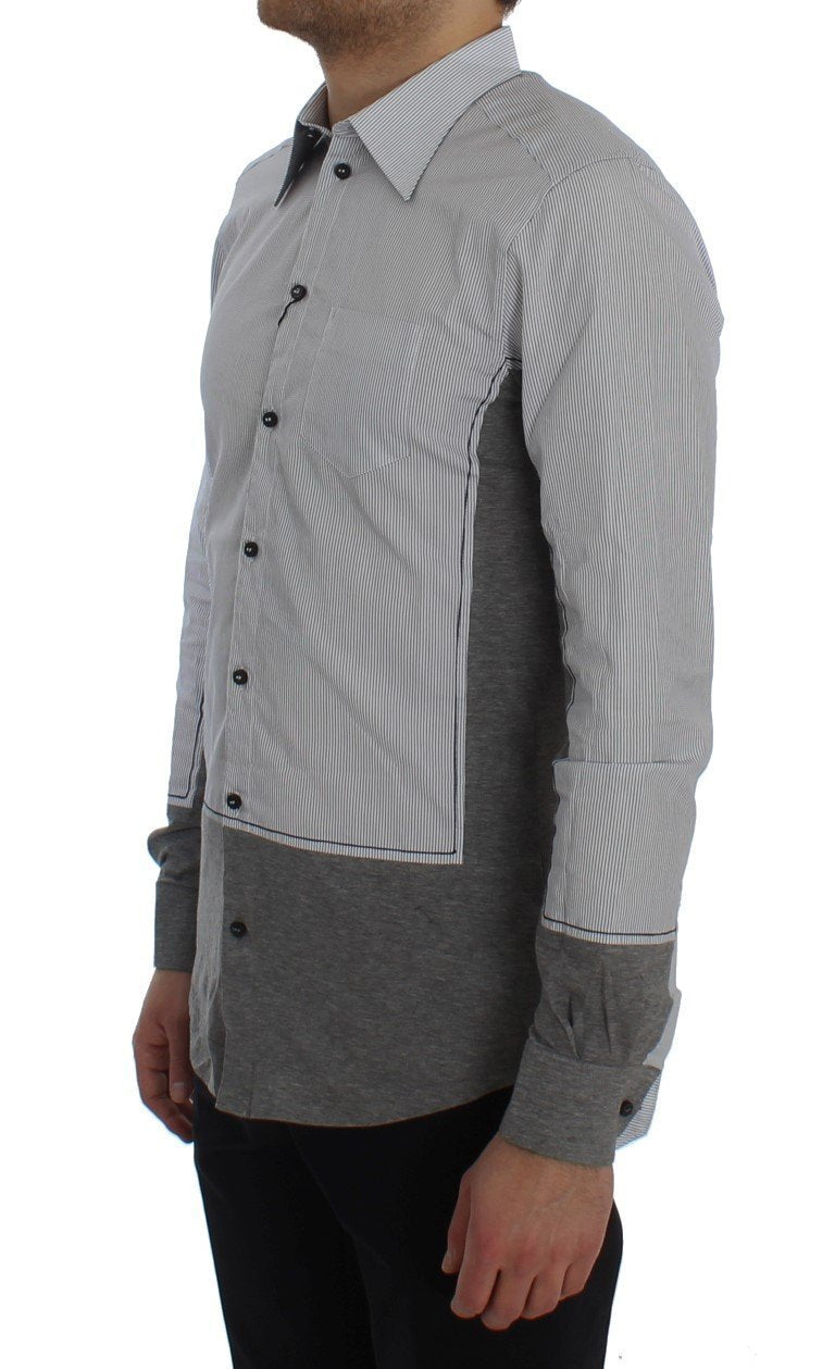 Gray Striped Cotton Slim Fit GOLD Shirt