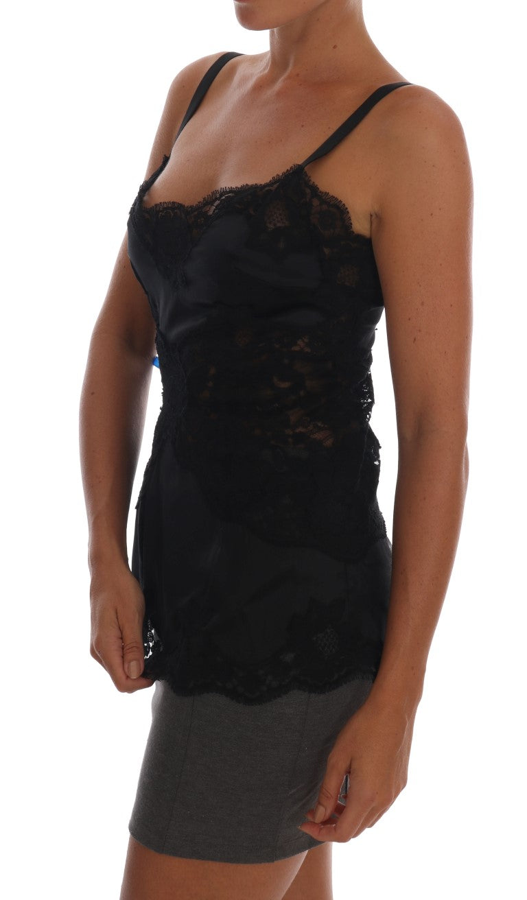 Black Silk Stretch Lace Top