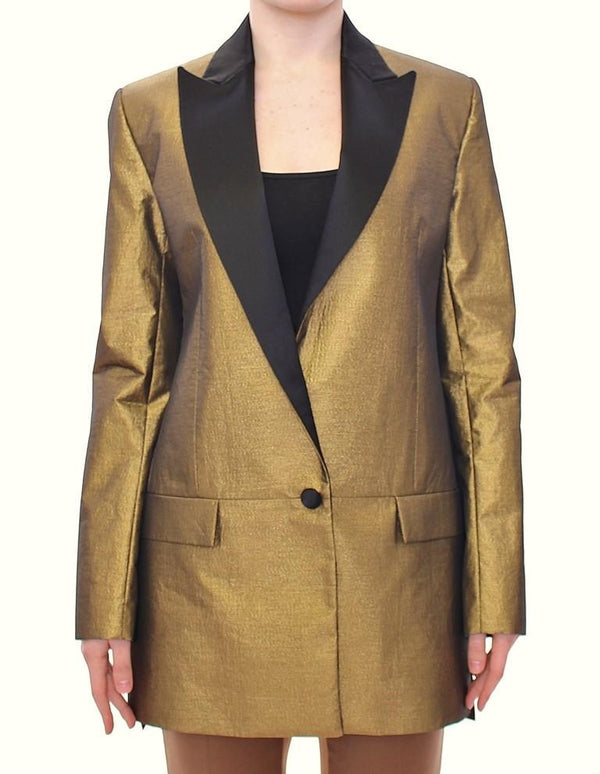 Black Gold Silk Coat Jacket Long Blazer
