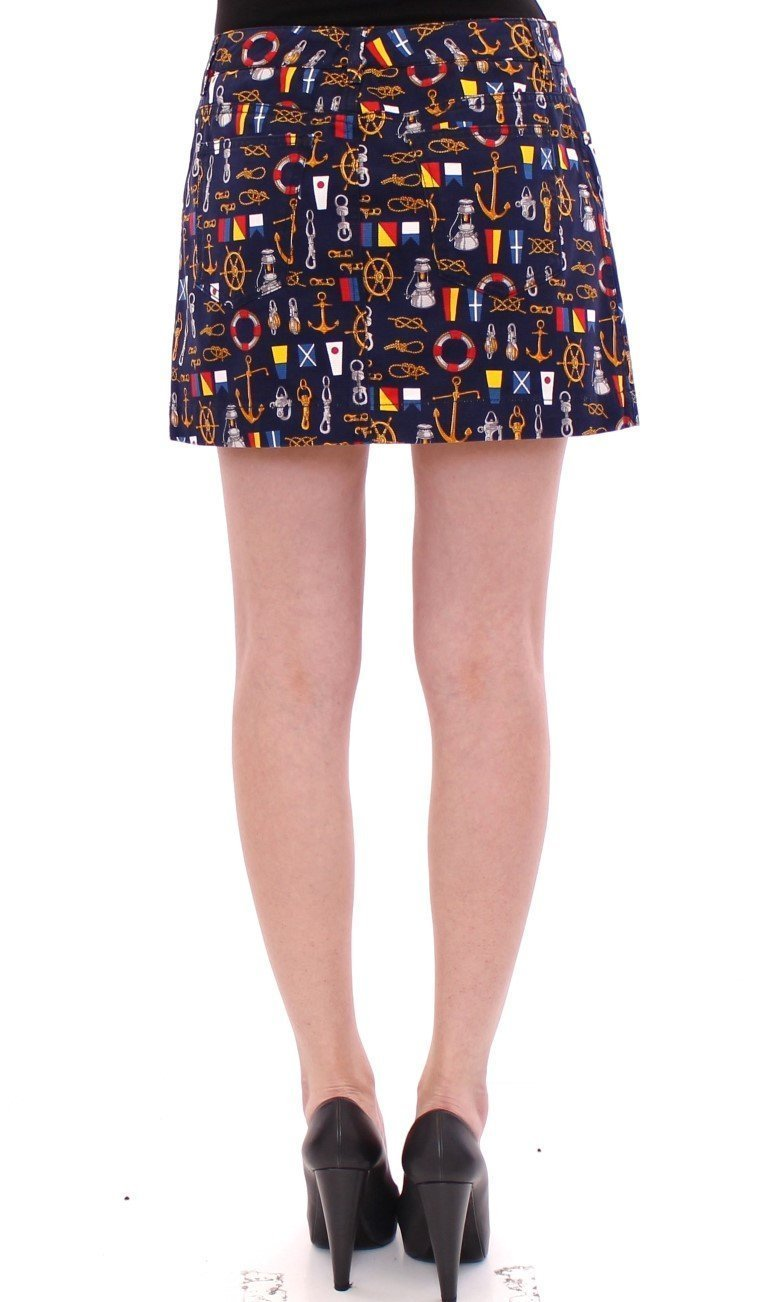 Blue Cotton Sea Motive Waist Skirt