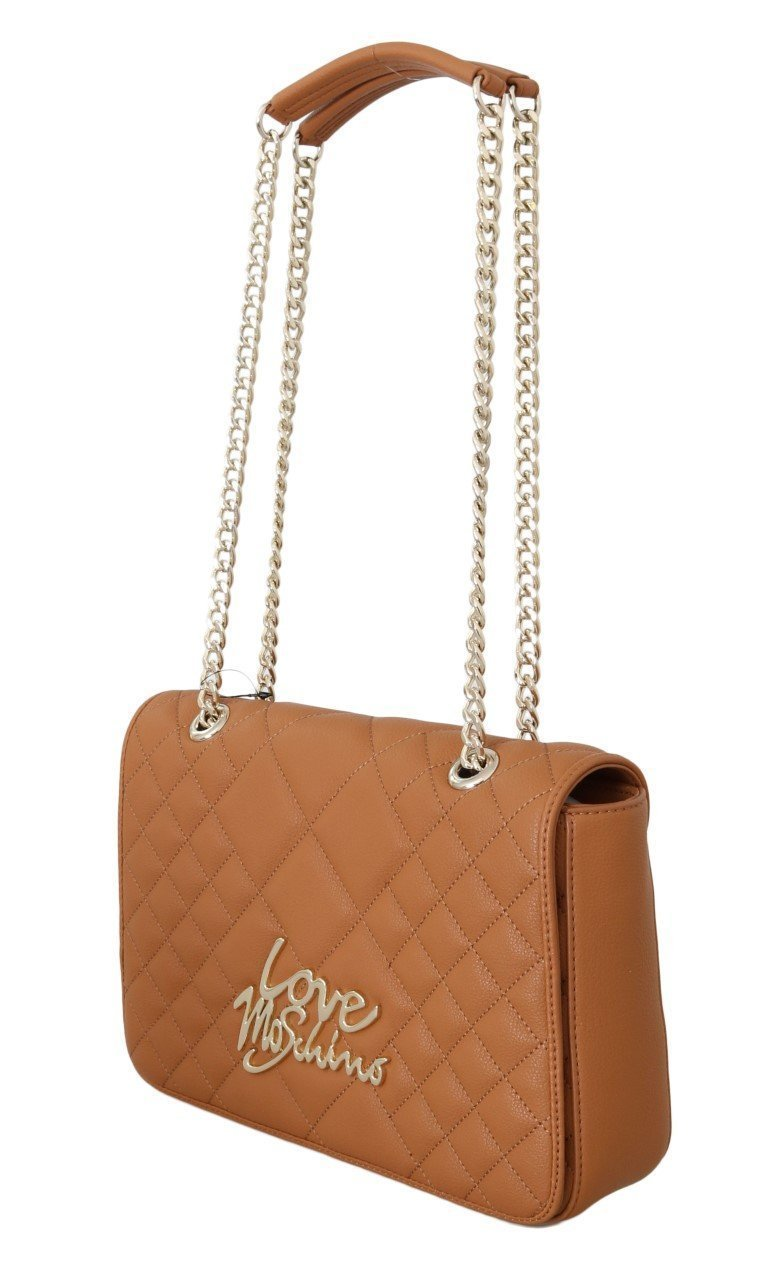 Beige Quilted Faux Leather Handbag