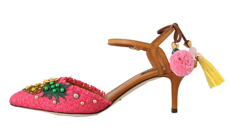 Multicolor Pineapple Crystal Leather Slingbacks Shoes