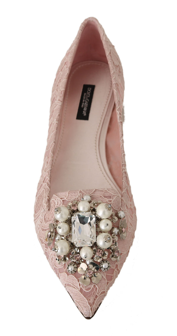 Pink Silk Lace Crystal Ballet Flats