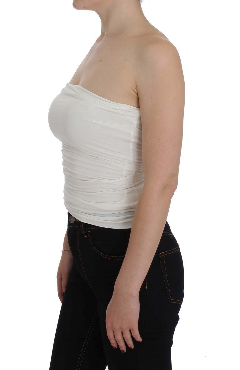 White Stretch Bustier Top