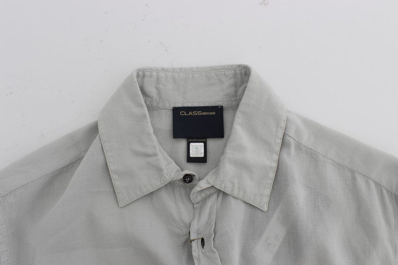 Gray Cotton Regular Fit Casual Shirt