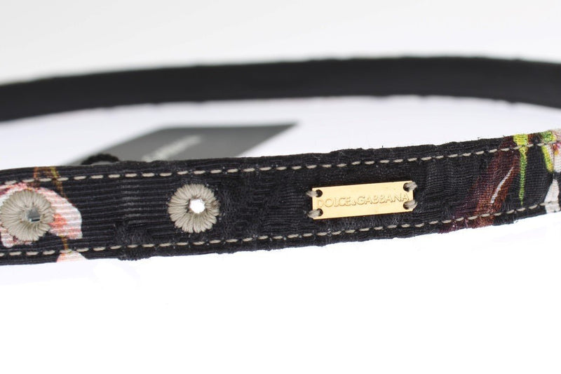 Floral Print Leather Gold Buckle Logo Belt