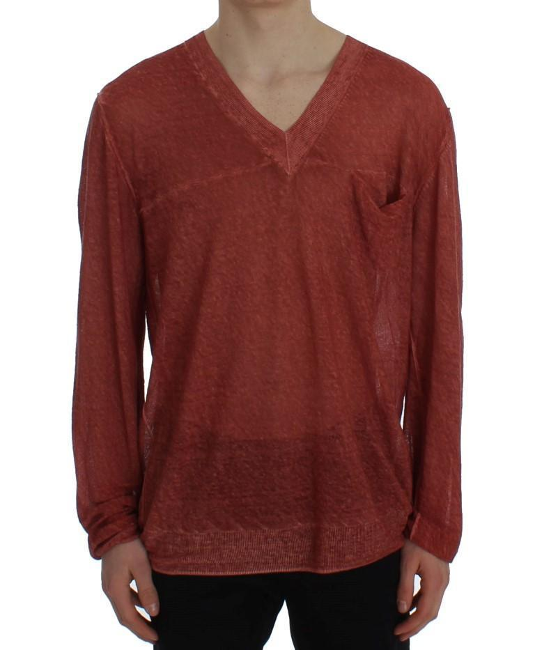 Red V-neck Pullover Linen Sweater