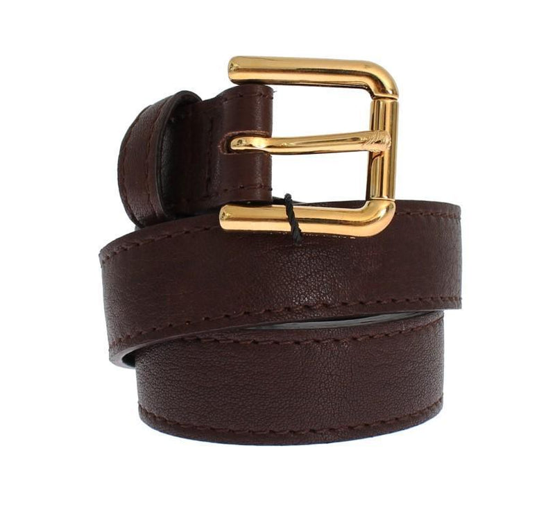 Brown Leather Gold Buckle Logo Belt