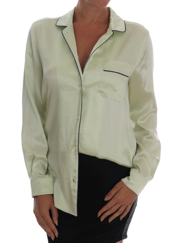 Green Silk Oversized Shirt