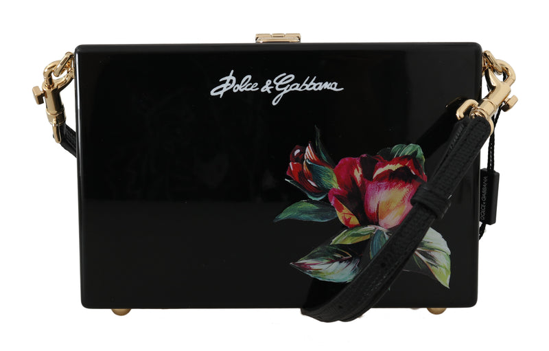 Hand Painted Wooden Roses BOX SICILY Leather Purse