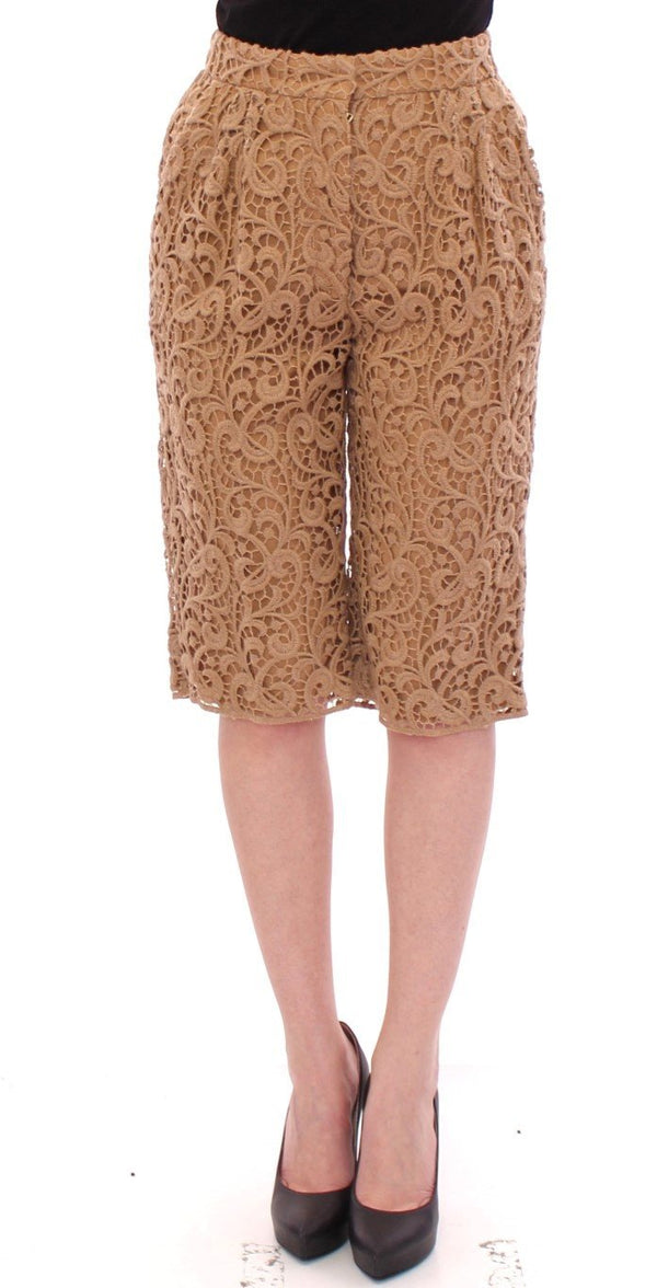 Beige wool shorts pants