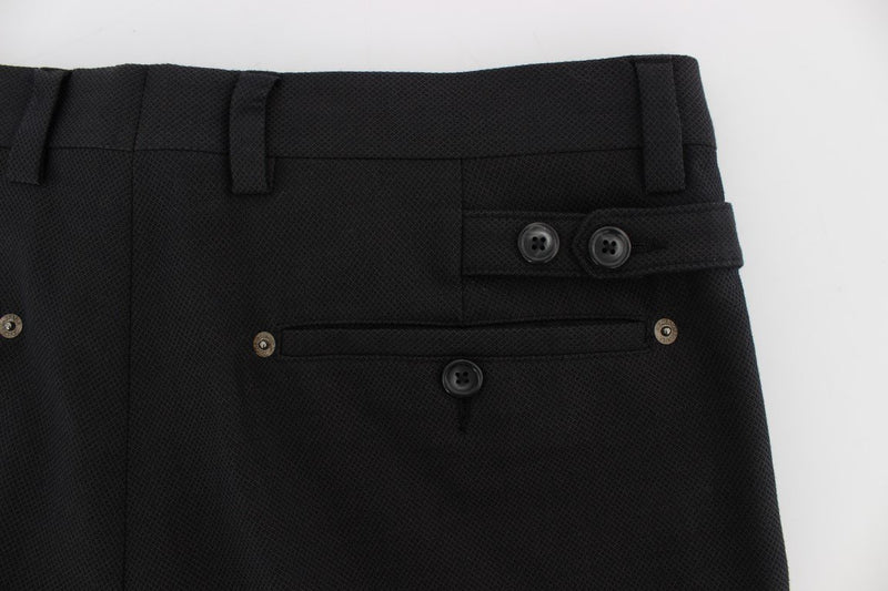 Black Cotton Wool Casual Slim Fit Pants